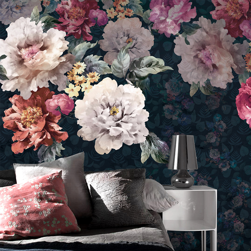 Custom 3d Mural Large Mural Hand Painted Floral Wallpaper