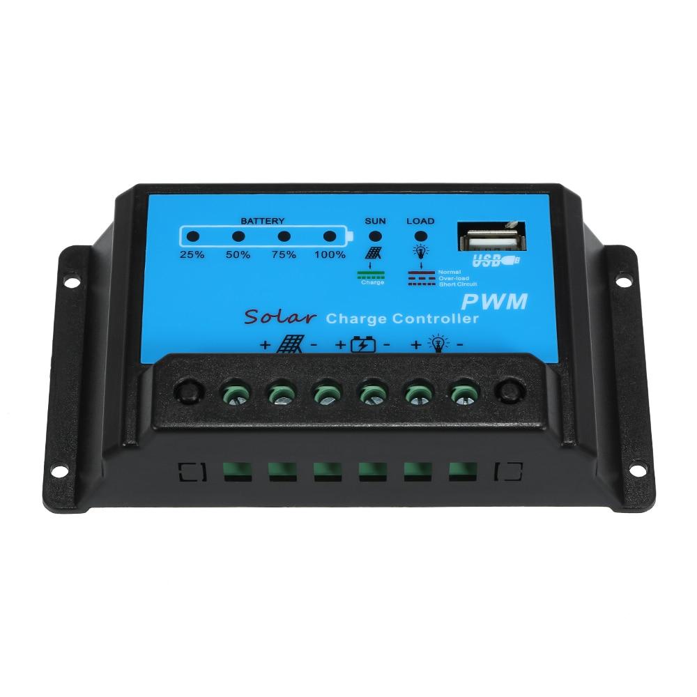 KKMOON 10A Контроллер заряда солнечной панели контроллер батареи PWM 12 V/24 V Интеллектуальный регулятор с USB 5 V
