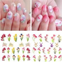 6pcs/set Nail Water Decals Colorful Tulip Flowers Transfer Stickers Floral Art Slider Sticker Dutch Windmill Tattoo