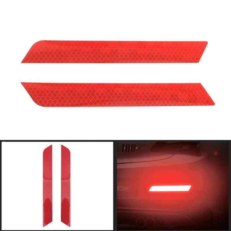 2Pcs Universal Car Trunk Tail Safety Warning Reflective Stickers Luminous Reflector Rear Bumper Luminous Decal Auto Accessories