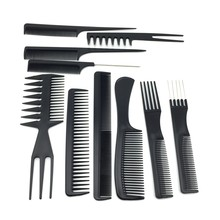 10pcs/set Professional styling tools Salon Combs Set Black Plastic Barbers Hair Styling Tools Hairdressing Salon Free Shipping