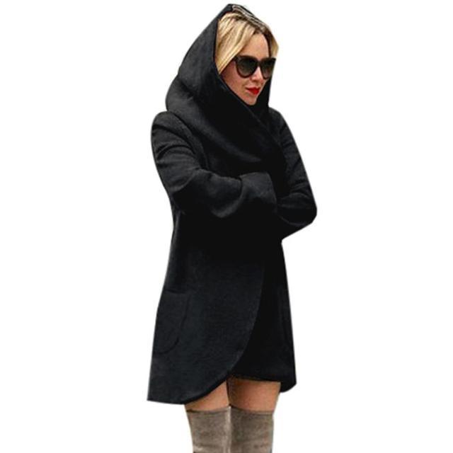 Woolen Trench Women Slim Long Coat Hooded Trench Solid Color Windbreaker Outwear Cardigan Coat Cortavientos Mujer #1208