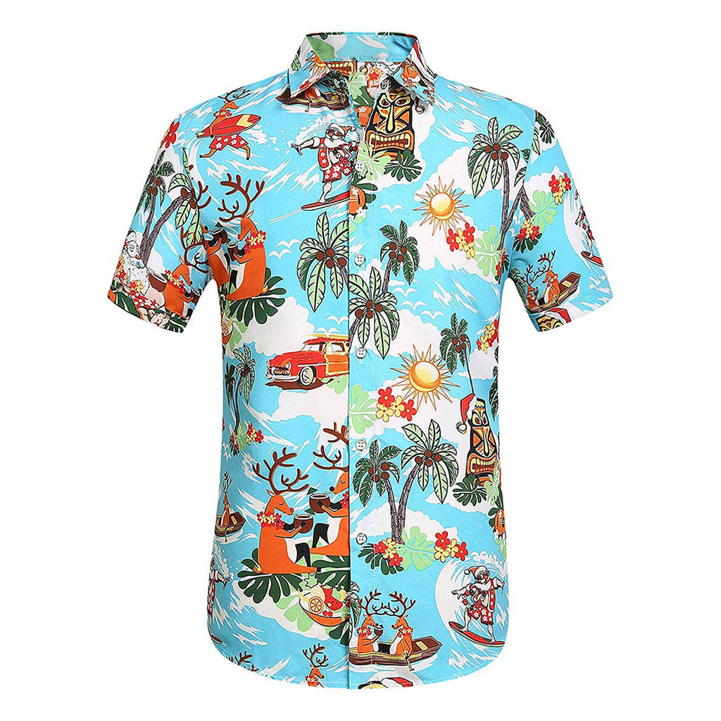 Men Casual Floral Printed Shirt Button Down Short Sleeve Shirt Hawaiian Top Blouse Shirts Men Camiseta Hombre Hawaiian Shirts