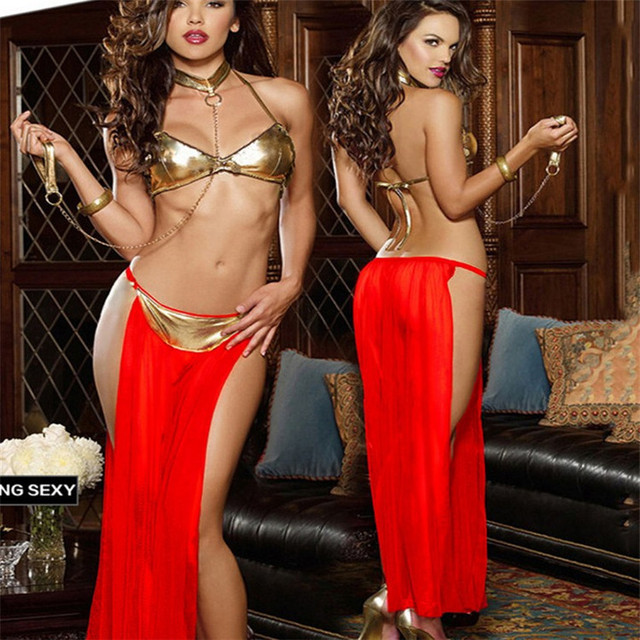 Free shipping,2017 New Adult Women Sexy Star Wars Slave Princess Leia Costume Dress Lady Halloween Fancy Dress Cosplay Costume 1