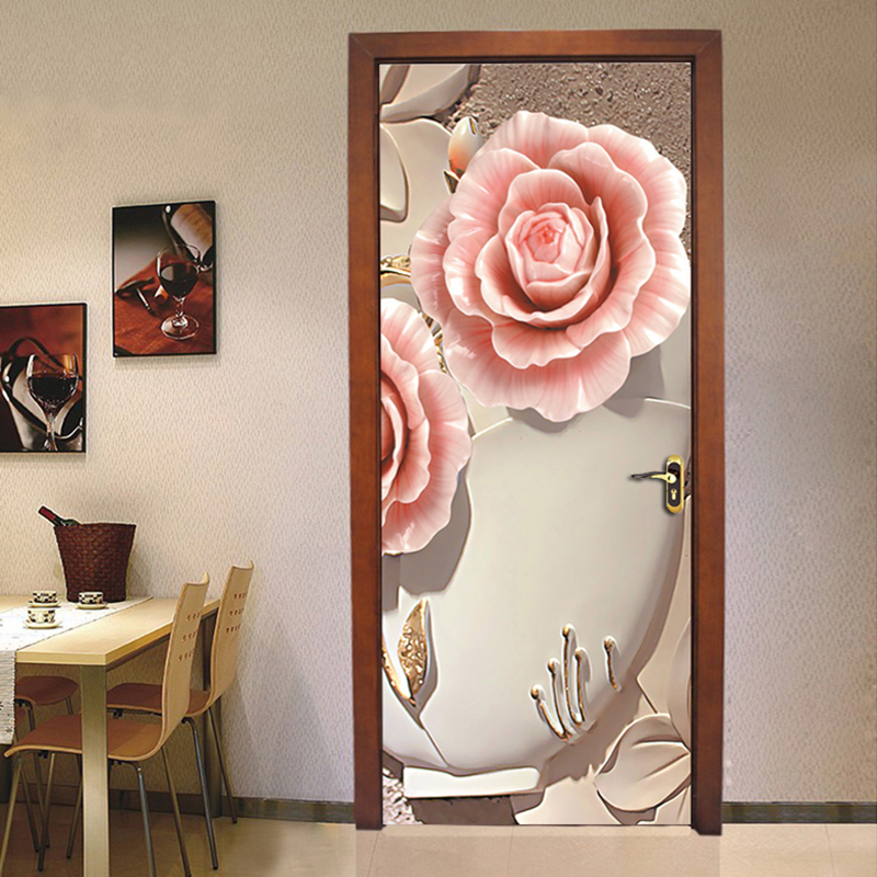 PVC Waterproof Door Sticker Wall Painting Living Room Bedroom Door Decoration 3D Flower Mural Wallpaper Self-adhesive Home Decor chinese style blue peacock mural wallpaper modern living room bedroom door wall mural sticker pvc waterproof vinyl 3d home decor