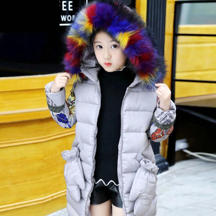 -25Degree New Children Winter Jacket Girl Winter Coat Kids Warm Thick Fur Collar Hooded Long Down Coats For Teenage 6 8 10 12 14 christmas cotton padded parkas teen winter coat girl long red pink black hooded warm winter jacket for girl 6 years 8 10 12 14