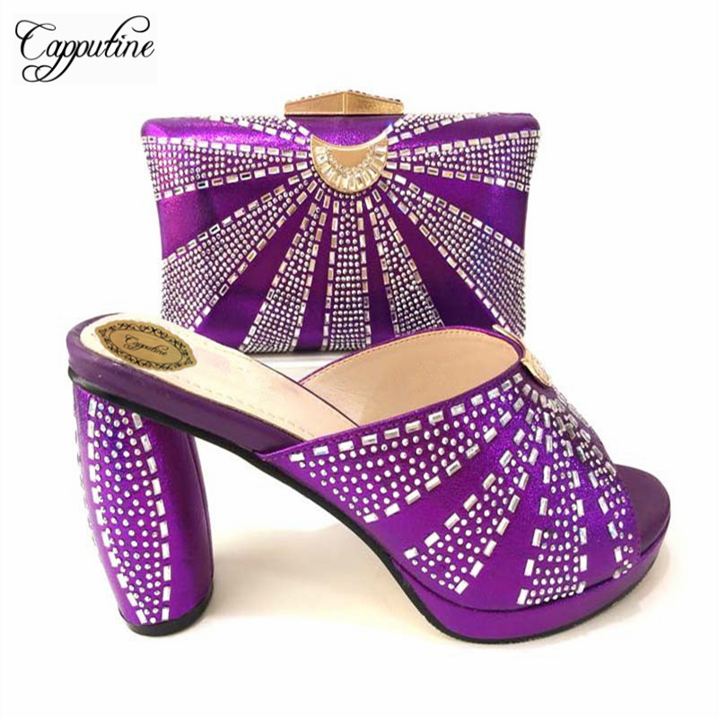 Capputine High Quality High Heels Shoes And Matching Bag For Party New Fashion Africa Style Shoes And Bag Set Size 37-43 TX-8526 capputine africa style shoes and bag set fashion woman high heels pumps shoes and bag set for party free shipping bch 27