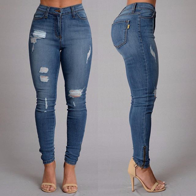 Brand new fashion trend female ripped broken hole distressed denim pencil pants street wear slim fit