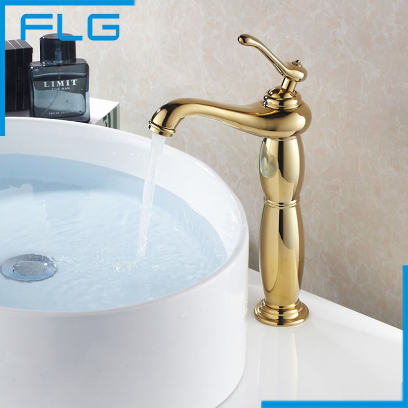 ФОТО FLG Free Shipping Gold Faucet Bathroom Basin Hot and Cold  Mixer Tap, Golden Brass Bath Faucets Torneira Banheiro