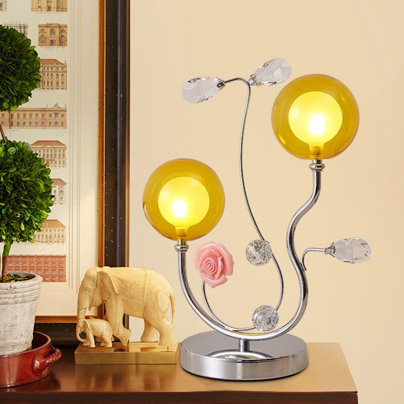 Лампа прикроватная тумбочка для спальни/современный минималистский Креативный светодиодный гостиная лампа/теплый цвет стекла свадебные н...