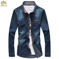 Плюс Размер Бренд Camiseta Masculina 5XL 4XL Slim Fit Denim рубашки 2017 Новый Длинным Рукавом 3 Цвет Синий Сорочка Homme Мужчины одежда