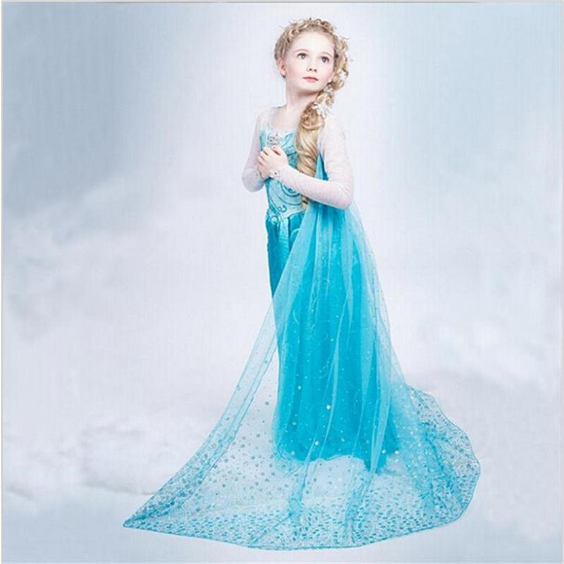 HTB1pu66afQypeRjt bXq6yZuXXaa Fancy 4-10y Baby Girl Princess Elsa Dress for Girls Clothing Wear Cosplay Elza Costume Halloween Christmas Party With Crown