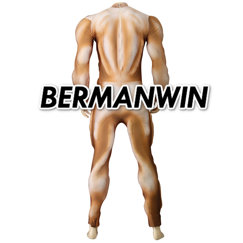 US $224 0 |BERMANWIN High Quality Muscle Suit Fullbody Spandex Zentai  yellow Suit With Muscle Padding Hero Based Muscle Cosplay Costume on