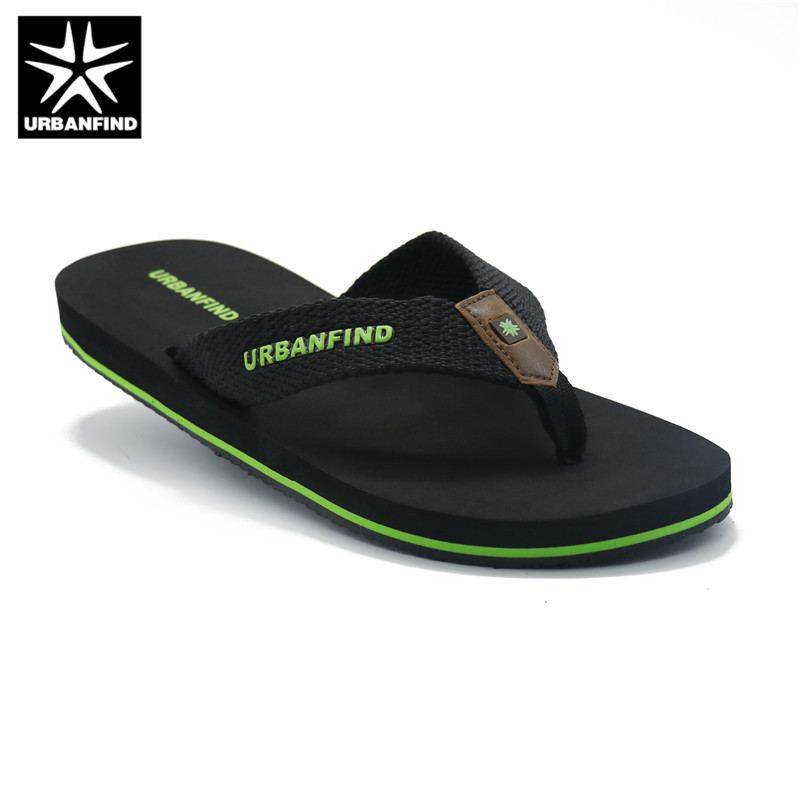 URBANFIND Solid Color Men Casual Flip Flops Black / Brown Size 41-46 Home / Beach Summer Slippers Man Breathable Light Shoes
