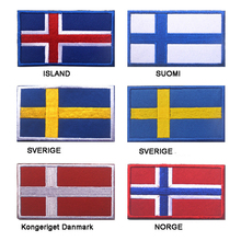 лучшая цена Embroidered Iceland Finland Sweden Denmark Norway Flag Patch Army Hook & Loop 3D Tactical Military Fabric Northern Europe Flag