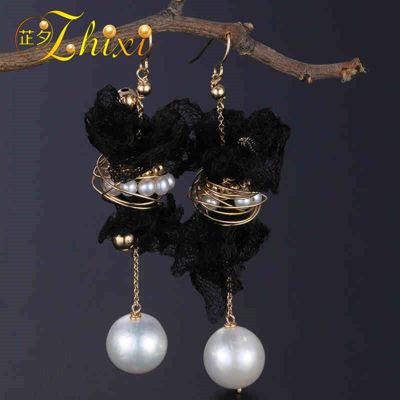 [ZHIXI] Freshwater Pearl Earrings For Women 9K Yellow Gold Jewelry Big Natural Pearl Dangle Earrings Trendy Gift EB223 enzo natural gemstone certified garnet earrings 9k yellow gold fashion ear line for women earrings a pair of earrings