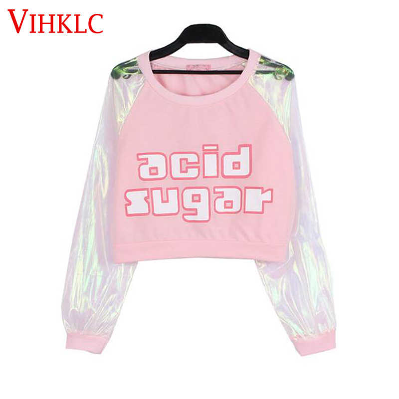 Laser Transparent Harajuku Crop Top Patchwork Long Sleeve T shirt Women Long Sleeve Clothing Letter Print tshirt T-shirt T597