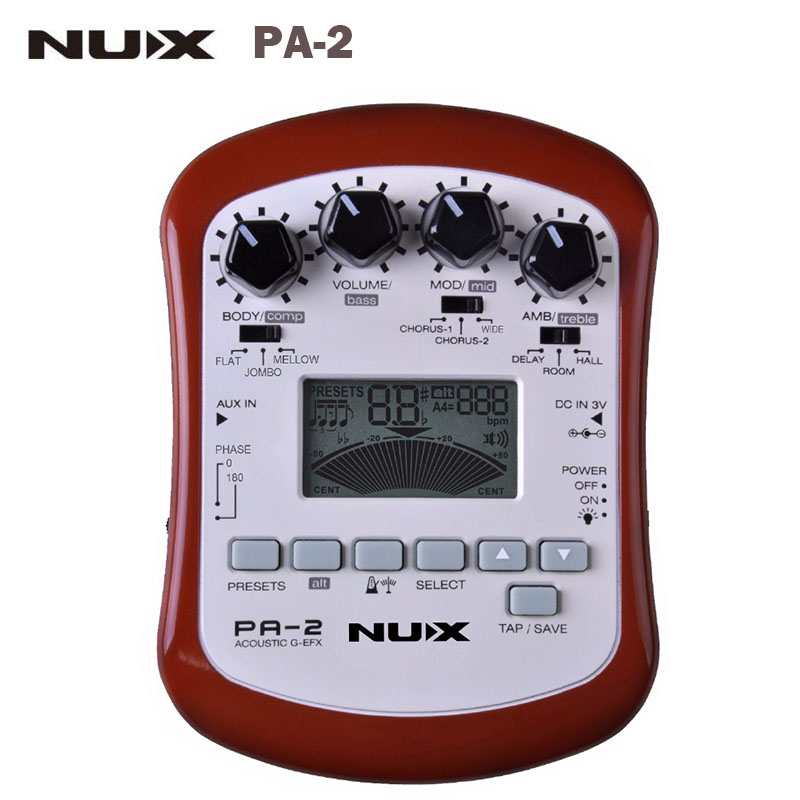 NUX PA-2 Portable Acoustic Guitar Multi-Effects Pedal 18 types of preset Guitar Effect Pedal Guitar Parts & Accessaries two way regulating lever acoustic classical electric guitar neck truss rod adjustment core guitar parts