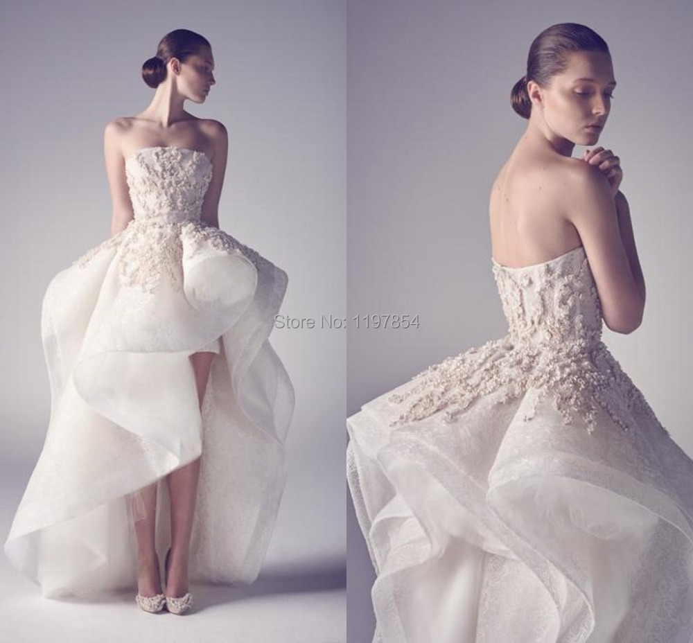 Short front long back wedding dress strapless backless for Free wedding dresses low income