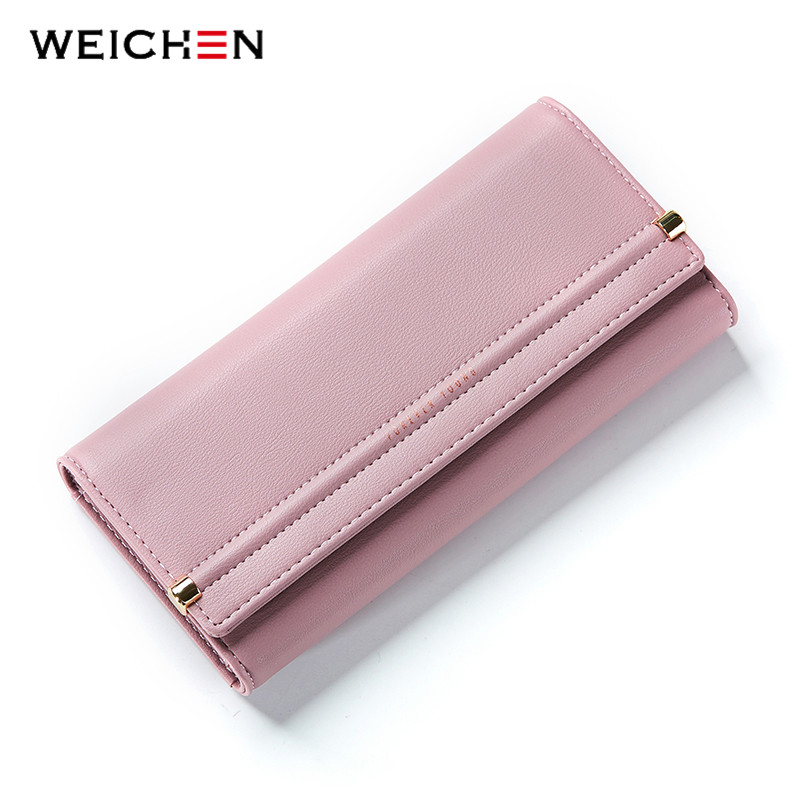 WEICHEN New Design Cell Phone Coin Pocket Money Purse Solid Hasp Long Women Wallet  Ladies Card Photo Holder Wallets Lady  Bag casual weaving design card holder handbag hasp wallet for women