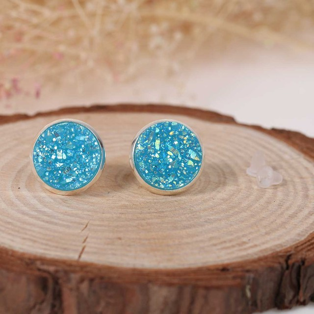 Doreen Box Copper Ear Post Stud Earrings Round Lake Blue AB Color W/ Stoppers 16mm x 14mm,1 Pair 2017 new