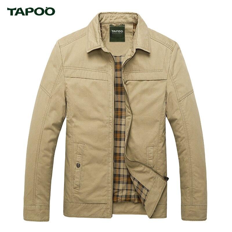 TAPOO Курточка бомбер Для мужчин брендовая одежда повседневные куртки хлопок отложной воротник пальто военный открытом воздухе молния мужск...