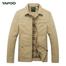 TAPOO Bomber Veste Hommes Marque Vêtements Casual Vestes Coton Turn-down Collar Manteaux Armée Militaire À L'extérieur Zipper Mâle Pardessus