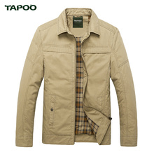 TAPOO Bomber Jacket Men Brand Clothing Casual Jackets Cotton Turn-down Collar Coats Army Military Outdoors Zipper Male Overcoat