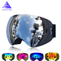 VECTOR Marca Profesional Gafas de Esquí Doble Lente UV400 Anti-vaho Adultos Snowboard Nieve Gafas de Esquí Gafas Hombres de Las Mujeres