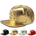 2017 Vogue Доллар Логотип Крокодил хип-хоп рэп ИСКУССТВЕННАЯ Кожа шляпы Золото Горный Хрусталь Street DJ Деньги Бейсболки мужчины женщины casquette