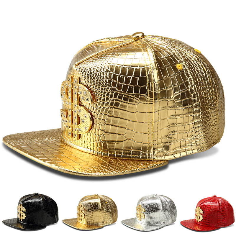 Prix pour 2017 Vogue Dollar Logo Crocodile hip hop rap PU En Cuir chapeaux Or Strass Rue DJ D'argent Casquettes de Baseball hommes femmes casquette