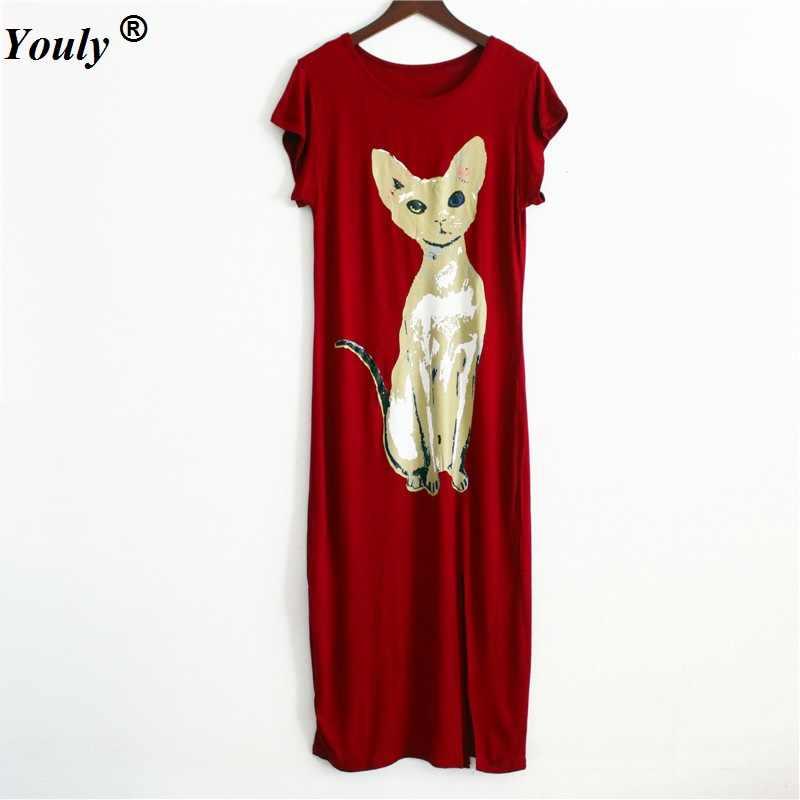Kasual Lengan Pendek Kucing Dicetak Pantai Gaun 2020 Musim Panas Wanita Bodycon O-Leher Celah Desain Longgar Gaun Maxi Vestidos