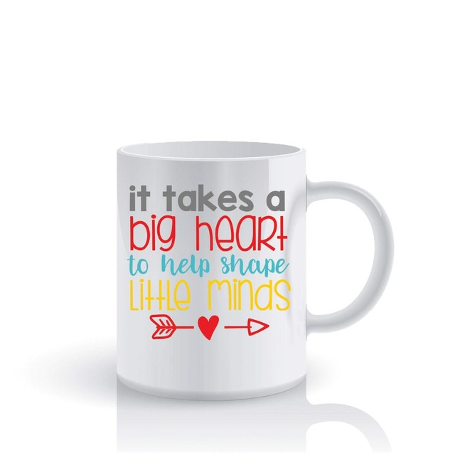 It Takes A Big Heart To Help Shape Little Minds Teacher mugs Tea Cup coffee mug ceramic travel novelty friend gifts home decal