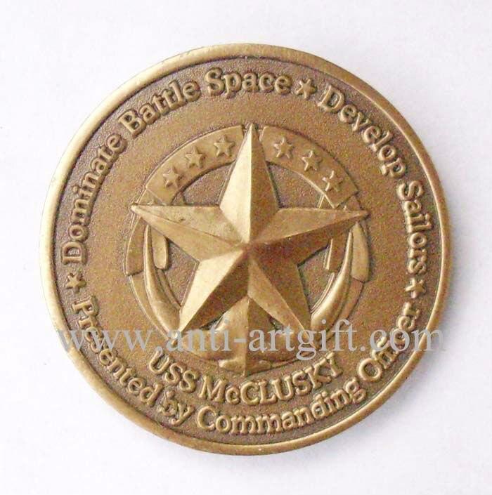 Пользовательские Античное золото Монета пять звезд монеты 3D военный USS маккласки No MOQ