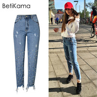 BetiKama Spain Jeans Woman Vintage Embroidered Flares Rivet 100 Cotton Denim Jeans Straight Pants High Waist