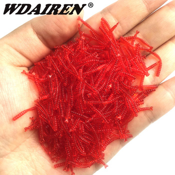 50pcs Smell Red worms Fishing lures 20mm soft bait Simulation Artificial shrimp odor red Worms Bass lure Fishing Takcle