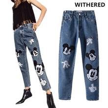 Withered mom jeans women england high street cartoon cute mouse patchwork loose