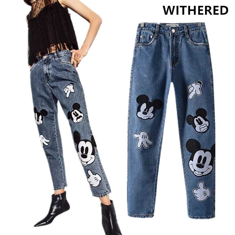 Withered mom   jeans   women england high street cartoon mickey mouse patchwork loose softener harem denim pants women plus size