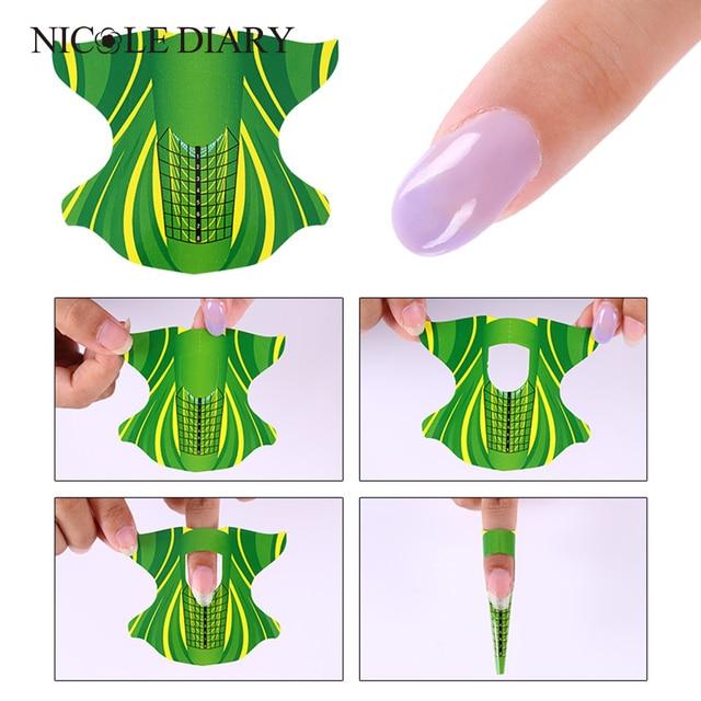 100 unids/roll forma cuadrada adhesivo Moldes para uñas de acrílico/UV gel nail tip uñas Manicura herramienta en Moldes para uñas de Belleza y ...