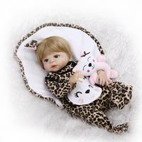 Новый список 22 дюймов всего тела младенцев Reborn девушка кукла с песчаными светлые волосы Leopard Одежда с рисунком куклы реборн игрушки для дете