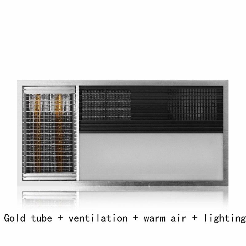 Светодиодный Люстра панели Свет Лампы Отопление набор потолка нагрева воздуха для ванной Золотой Трубки Ванная комната Многофункциональн