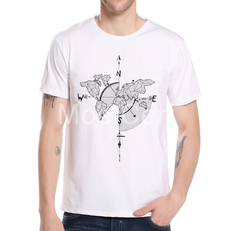 MOE CERF 2018 Nové přírůstky Pánské trička Compass / Světová mapa Design T-shirt Módní krátké rukávy Hip Hop Top Tees L8-A-10