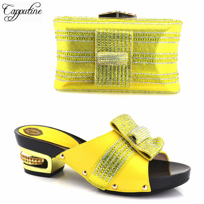 Capputine New Italian Rhinestone Woman Shoes And Purse Set Fashion African Low Heels Shoes And Bag Set For Party Size 37-43 jianxiu genuine leather bags bolsa bolsos mujer sac a main women messenger bag bolsas feminina 2018 small shoulder crossbody bag