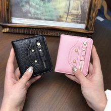 Women Small Coin Purse Lady Slim Cat Wallet Mini Female Thin Money Cash Pocket With Card Holder ladies purse Cute Wallet Girls(China)