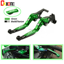 WITH LOGO Motorcycle Brakes CNC Adjustable Folding Extendable Brake Clutch Levers Set For KAWASAKI  ER6N ER 6N ER-6N 2009-2017 candy fpe502 6n