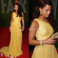 Neue Elegante Alicia Keys Gelb Schulter Eitelkeit Oscar Party Roter Teppich Abendkleider Perlen Faltechiffon-Abschlussball-partei-kleider