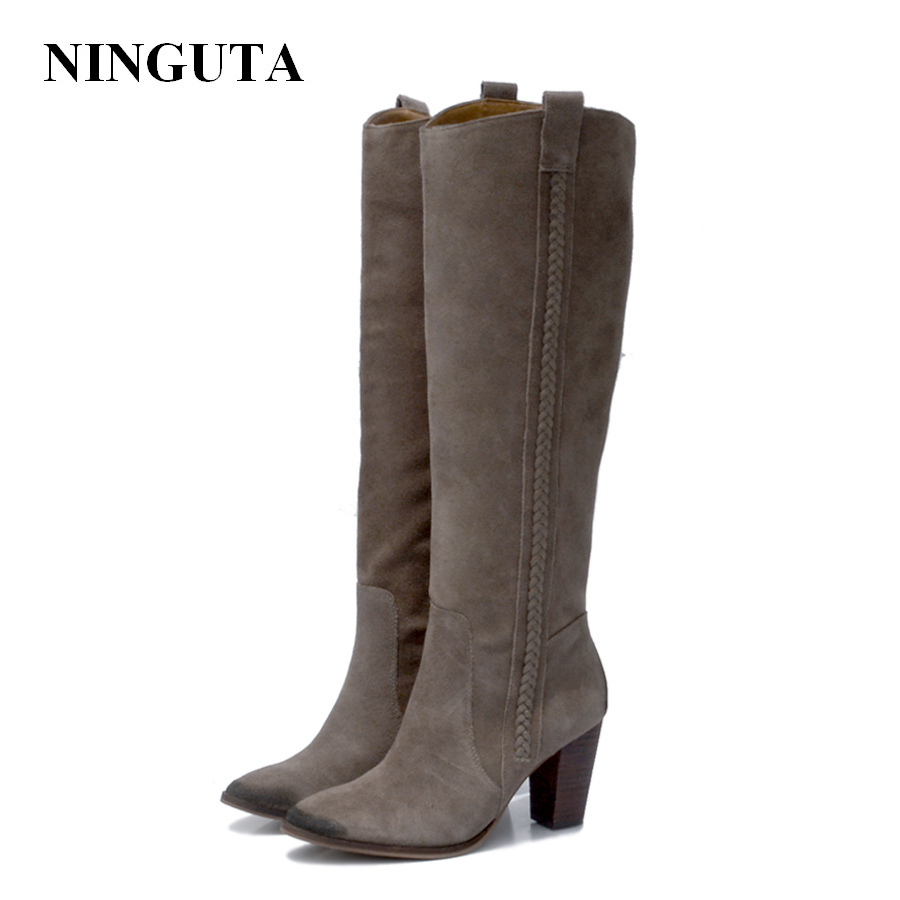 NINGUTA suede knee high boots women high heels for sping autumn leather boots