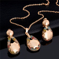 New Style Wedding Jewelry Sets For Women Gold Plated Zircon Crystal Necklace + Earrings Jewelery Set Free Shipping