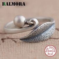 2016 New Retro 100 Real Pure 925 Sterling Silver Jewelry Leaf Round Charm Rings For Women