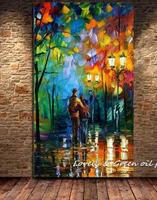 Large Handpainted Abstract Modern Wall Painting Rain Tree Road Palette Knife Oil Painting On Canvas Wall Art Home Decor YY043
